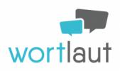 Grafik: hälftig türkis-graues Wort wortlaut mit zwei Sprechblasen darüber