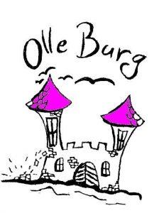 Grafik: Zeichnung einer alten bröckelnden Burg mit zwei Türmen, darüber Schriftzug Olle Burg