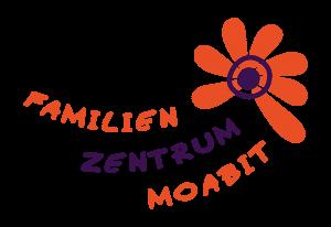 Grafik: orange Blume mit blauem Kreis und Punkt mittig, schräglinks darunter Schriftzug FAMILIEN ZENTRUM MOABIT