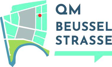"""Grafik: Ausschnitt Stadtkarte mit Schriftzug """"QM Beusselstrasse"""""""