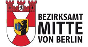 Grafik: links Wappen, rechts Schriftzug Bezirksamt Mitte von Berlin